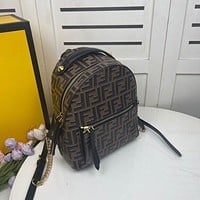 2020 FENDI MEN'S AND WOMEN'S NEW STYLE FF LOGO LEATHER BACKPACK BAG