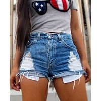 Fashion Ripped Shorts Jeans