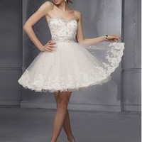 Buy discount Charming Lace & Tulle & Satin Sweetheart Neckline Short A-line Homecoming Dress at Dressilyme.com