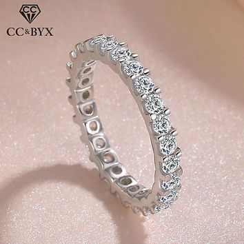 CC Solid 925 Silver Rings For Women Cubic Zirconia Ring White Gold Bridal Wedding Engagement Trendy Jewelry Bijoux Femme CC1565