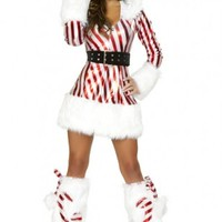 White Red Striped Candy Cane Faux Fur Lining Hooded Dress @ Amiclubwear costume Online Store,sexy costume,women's costume,christmas costumes,adult christmas costumes,santa claus costumes,fancy dress costumes,halloween costumes,halloween costume ideas,pir