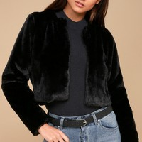 Paris Nights Black Faux Fur Cropped Jacket
