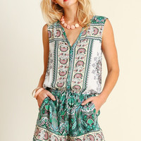 Music in the Park Romper - Green