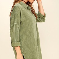 Artista Washed Olive Green Button-Up Top