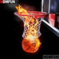 5D Diamond Painting Basketball Flames Hoop Kit