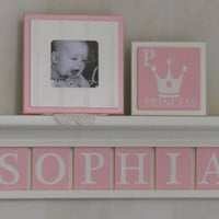"Princess Crown Wooden Wall Decor, Princess Crown Name Decor, Custom 30"" Linen (off white) Shelf for SOPHIA with Crowns, 8 Light Pink Plaques"