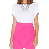 Pink Asymmetric Hem Pencil Skirt With Back Zipper