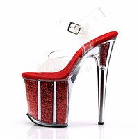 "Flamingo 808G Red Glitter Filled 8"" Heel Clear Strap Platform Shoe"