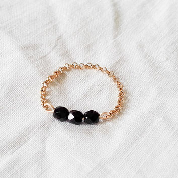Chain ring - stacking ring - dainty ring - black and gold ring - beads chain ring - skinny ring