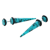 Turquoise Faux Plug And Taper 4 Pack