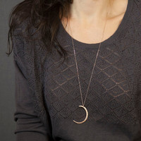 Long Pendant Necklace with Moon Slice // Long Silver Necklace // Rose Gold, Gold or Silver // Large Pendant Moon on Long Chain