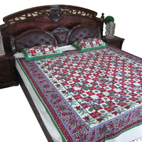 Bohemian Tapestry Throw Bedcover Ethnic Indi Decor Cotton Coverlet 2 Pillowcases