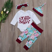 4 Pcs Baby Girls Little Sister Red and Floral Outfit Set