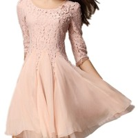 Sheinside Half Sleeve Lace Bead Chiffon Dress