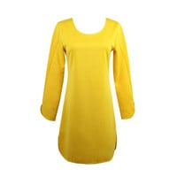 Yellow Backless Hollow out O Neck Long Sleeve OL Straight Dress