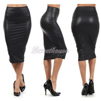 Hot Selling black Red Pencil Skirt High Waisted Skirt Women Plus Size Leather Skirt Leather Pencil Skirt Drop Free shipping 10