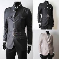 Military Style Jacket with Belt