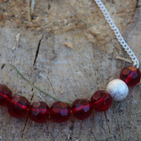 Red Bar Necklace, Beaded Bar Necklace, Glitter Necklace, Glitter Bar necklace, Glitter Accent Necklace, Statement Necklace, Red Necklace