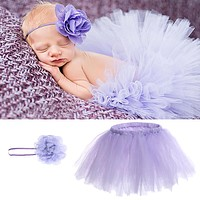 Baby born Photography Props Baby Crochet Outfits Princess Baby Tutu Skirt with Headband Purple Baby Photography Accessories