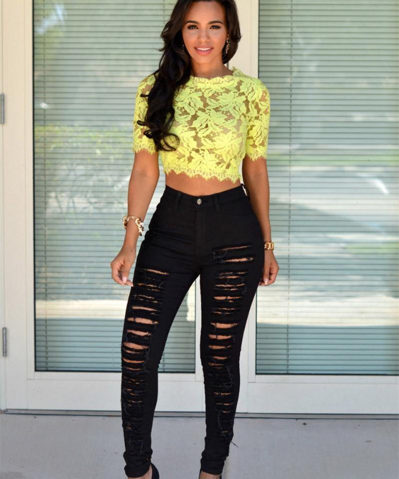 Image of High Waist Ripped Skinny Jeans