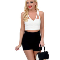 Ivory Cut Out Sweetheart Bustier Mod Crop Top