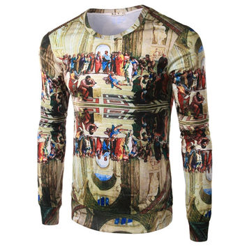 Urban Trend Fashion Personality Round Collar Men Long Sleeve T-shirt Printed Character Abstract 3 D Men Jerseys