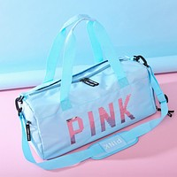 Victoria Pink New fashion sequin letter couple shoulder bag handbag Sky blue