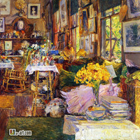 Canvas Prints (Childe Hassam the Room of Flowers) A girl reading a book in the room Print picture for child's room Scenery-199