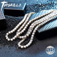 New 925 Sterling Silver 3-6mm Men's Necklace Bling CZ Iced Out Hip Hop Link Tennis Chain Silver Gold Necklace Jewelry For Gift  - jewelry fall 2021