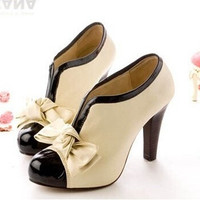 high heel shoes new sexy lady H023 beige bow pump platform women (US Size) = 1651172164