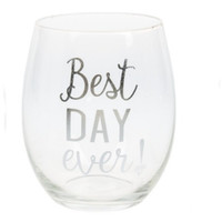 Best Day Ever! , Stemless Wine Glass