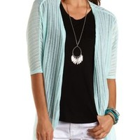 Embroidered Mesh & Knit Cardigan by Charlotte Russe