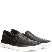 Gauden cut-out leather and suede slip-on sneakers