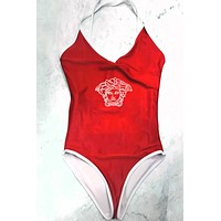 Versace Summer New Fashion Diamond Human Head Straps One Piece Bikini Suit Red