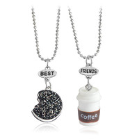 2pcs/set fashion oreo&coffe Best Friends Pendant Necklace For Women Jewelry Friend Birthday Gift