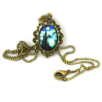 10% SALE - Necklace The Starry Night  Vincent Van Gogh Glass Photo Art Pendant Necklaces Gift
