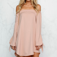 Strapless Bow Knot Long-Sleeved Dress  12245