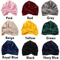 Newborn baby Soft Velvet Winter Hat Indian Turban Cap Bohemia Style Head Wrap