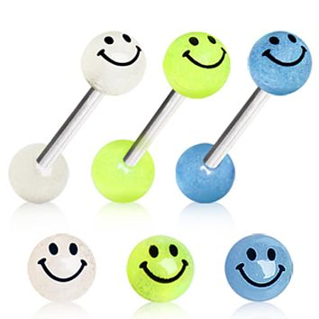 316L Surgical Steel Barbell with Glow in the Dark Smiley Face Balls