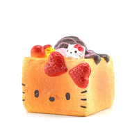 Original Hello Kitty Squishy Strawberry Scented Chocolate Covered Soft Sweet Square Bread Phone Straps Ballchain with Tag