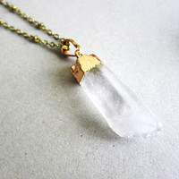 Gold Dipped Clear Quartz Necklace Crystal Geode Long Layered Gold Raw Mineral Stone Pendant Gemstone Natural Earthy Rustic Rock Arrow Chunky