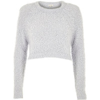 River Island Womens Light grey fluffy crop sweater