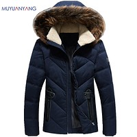Casual Jackets With Fur Collar Men's White Duck Down Jacket Winter Snow Coat Warm Clothing