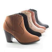 Rebel01 By Bamboo, Western Stacked Chunky Heel Ankle Booties