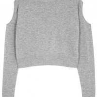 Grey cropped wool blend jumper