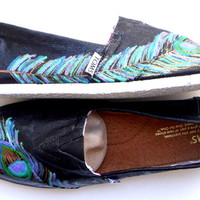 The Peacock - TOMS shoes hand painted by Fruitful Feet