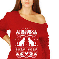 Meowy Christmas Purr Purr Cat Slouchy Off the shoulder Ugly Christmas sweater winter night Funny shirt Christmas Party shirt tee MLG-1277