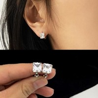 Square women earings clip earrings without piercing for women ear accessories jewellery