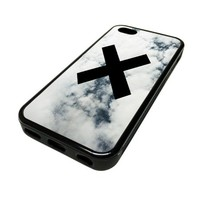 Apple iPhone 5C 5 C Case Cover Skin The X Vintage White Clouds Sky DESIGN BLACK RUBBER SILICONE Teen Gift Vintage Hipster Fashion Design Art Print Cell Phone Accessories