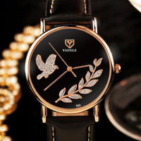 Fashion Casual Pigeon Olive Branch Pattern Quartz Watch Women Top Luxury Famous Brand Leather Wristwatches Relogio Feminino